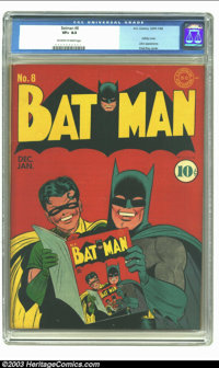 Batman #8 (DC, 1942) CGC VF+ 8.5 Off-white to white pages. Early Bats are hard to resist, this one more than most. First...