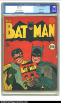 Golden Age (1938-1955):Superhero, Batman #8 (DC, 1942) CGC VG+ 4.5 Cream to off-white pages. If you are fortunate enough to have a few of the early issues of ...