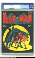 Golden Age (1938-1955):Superhero, Batman #9 (DC, 1942) CGC FN+ 6.5 White pages. The spotlight is on the Dynamic Duo on this Jack Burnley cover. This issue fea...