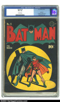 Golden Age (1938-1955):Superhero, Batman #9 (DC, 1942) CGC VG+ 4.5 Off-white pages. Jack Burnley shows his skills off with this simple cover of the Dynamic Du...