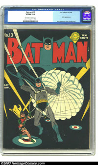 Batman #13 (DC, 1942) CGC VF/NM 9.0 Off-white to white pages. Is there an early DC title with better covers than Batman?...