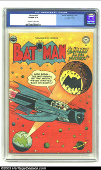 Batman #59 Canadian Edition (Simcoe Publishing, 1950) CGC VF/NM 9.0 Off-white to white pages. A gorgeous copy makes the...