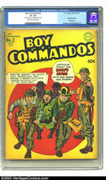 Golden Age (1938-1955):War, Boy Commandos #2 (DC, 1943) CGC GD+ 2.5 Off-white to white pages.The Boys carry Hitler off to meet his end on this patrioti...