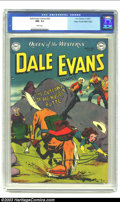 Golden Age (1938-1955):Western, Dale Evans Comics #20 Mile High pedigree (DC, 1951) CGC NM- 9.2 White pages. Rich cover colors are a hallmark of the famous ...