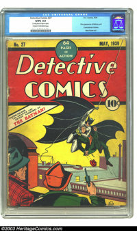 Detective Comics #27 (DC, 1939) CGC GD/VG 3.0 Cream to off-white pages. Big, bold, and beautiful, this is Number Two on...