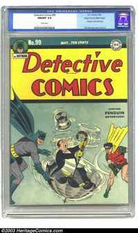 Detective Comics #99 Mile High pedigree (DC, 1945) CGC NM/MT 9.8 White pages. Dick Sprang provides the Penguin cover, as...