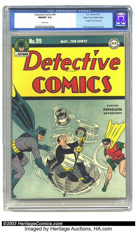 Detective Comics #99 Mile High pedigree (DC, 1945) CGC NM/MT 9.8 White pages. Dick Sprang provides the Penguin cover, as wel...