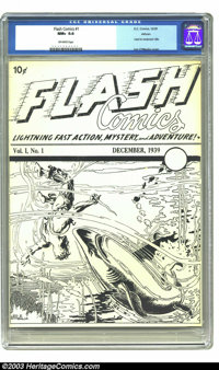 Flash Comics Ashcan Edition V1#1 (DC, 1939) CGC NM+ 9.6 Off-white pages. In late 1939, DC and Fawcett, coveting this tit...