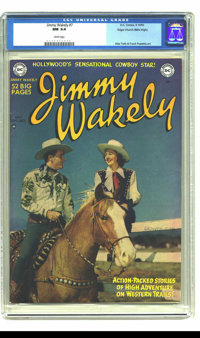 Jimmy Wakely #7 Mile High pedigree (DC, 1950) CGC NM 9.4 White pages. The charming photo cover of Jimmy Wakely and his c...