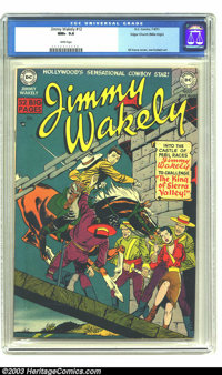 Jimmy Wakely #12 Mile High pedigree (DC, 1951) CGC NM+ 9.6 White pages. This masterful cover was drawn by Gil Kane, whil...