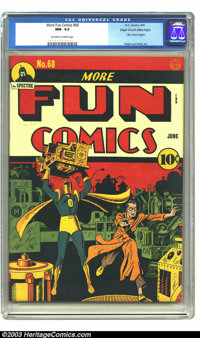 More Fun Comics #68 Mile High pedigree (DC, 1941) CGC NM- 9.2 Off-white to white pages. The top-ranked copy of this issu...