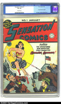 Golden Age (1938-1955):Superhero, Sensation Comics #1 (DC, 1942) CGC VG 4.0 Off-white pages. One month after her first comics appearance in All Star Comics #8...