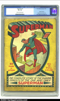 Superman #1 (DC, 1939) CGC VG- 3.5 Cream to off-white pages. The superhero credited with launching the Golden Age of Com...
