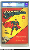 Golden Age (1938-1955):Superhero, Superman #2 (DC, 1939) CGC FR/GD 1.5 Cream to off-white pages. The all-time most earth-shattering moment in comics was the i...