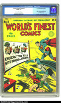 Golden Age (1938-1955):Superhero, World's Finest Comics #9 (DC, 1943) CGC GD/VG 3.0 Cream to off-white pages. With Superman, Batman and Robin throwing basebal...
