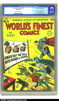 World's Finest Comics #9 (DC, 1943) CGC GD/VG 3.0 Cream to off-white pages. With Superman, Batman and Robin throwing bas...