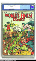 Golden Age (1938-1955):Superhero, World's Finest Comics #11 (DC, 1943) CGC FN 6.0 Off-white pages. Jack Burnley is responsible for the patriotic cover, while ...