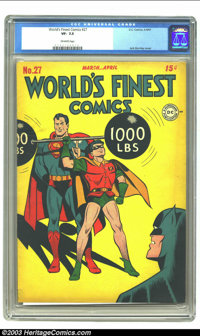World's Finest Comics #27 (DC, 1947) CGC VF- 7.5 Off-white pages. Cover artist Jack Burnley penciled 22 of the first 30...