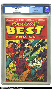 America's Best Comics #18 Mile High pedigree (Nedor Publications, 1946) CGC NM- 9.2 Off-white pages. Lordy, what a cover...