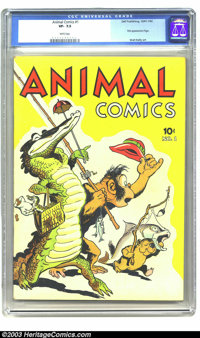 Animal Comics #1 (Dell, 1942) CGC VF- White pages. Pogo Possum makes his memorable first appearance in this first issue...