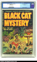 Golden Age (1938-1955):Horror, Black Cat Mystery #35 File Copy (Harvey, 1952) CGC VF/NM 9.0 Creamto off-white pages. This classic cover features a victim ...