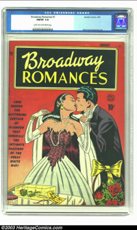 Broadway Romances #1 (Quality, 1950) CGC FN/VF 7.0 Light tan to off-white pages. Bill Ward covers are some of our very f...