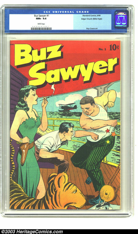 Buz Sawyer #1 Mile High pedigree (Standard, 1948) CGC NM+ 9.6 White pages. Roy Crane created the character Buz Sawyer in 194...