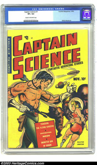 Captain Science #1 (Youthful Magazines, 1950) CGC VF+ 8.5 Cream to off-white pages. Space Ships! Spacemen! And, Space Wo...