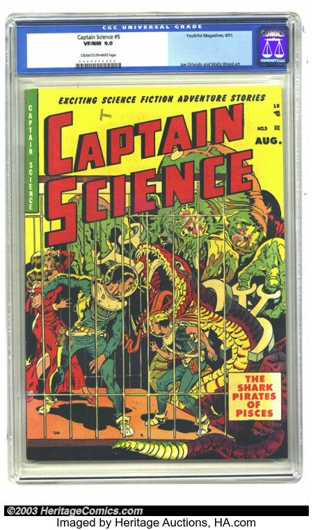 Captain Science #5 (Youthful Magazines, 1951) CGC VF/NM 9.0 Cream to off-white pages. The team of Wally Wood and Joe Orlando...