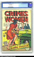 Golden Age (1938-1955):Crime, Crimes by Women #1 (Fox, 1948) CGC VF- 7.5 Cream to off-white pages. This key issue features the true story of Bonnie Parker...