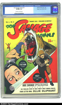 Doc Savage Comics #11 Mile High pedigree (Street & Smith, 1943) CGC VF/NM 9.0 Off-white to white pages. When Edgar C...