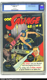 Doc Savage Comics #12 Mile High pedigree (Street & Smith, 1943) CGC VF/NM 9.0 Off-white pages. Here's another stunni...