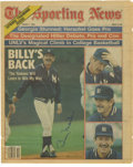 Autographs:Photos, Billy Martin Signed Newspaper Photograph & Unsigned SouvenirPlaque. Pair of collectibles remembering the fiery Yankee grea...