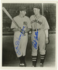 Autographs:Photos, Joe DiMaggio & Bob Feller Signed Photograph. A pair of battlingHall of Famers share a moment before a Yankee Stadium game....