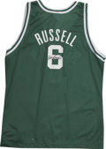 Basketball Collectibles:Others, Bill Russell Signed Jersey. Nice replica of the road green jerseyworn on the court by this Boston Celtics Hall of Famer pr...