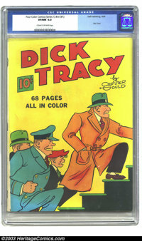 Four Color (Series One) #1 Dick Tracy (Dell, 1939) CGC VF/NM 9.0 Cream to off-white pages. Chester Gould gives us a cove...