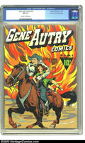 Golden Age (1938-1955):Western, Gene Autry Comics #4 Mile High pedigree (Fawcett, 1943) CGC NM 9.4Off-white to white pages. This is the nicest, by a long s...