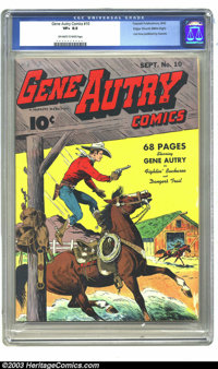 Gene Autry Comics #10 Mile High pedigree (Fawcett, 1943) CGC VF+ 8.5 Off-white to white pages. Dell assumed the title af...