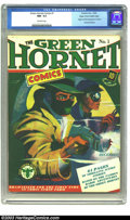 Golden Age (1938-1955):Superhero, Green Hornet Comics #1 Mile High pedigree (Harvey, 1940) CGC NM-9.2 Off-white pages. We have a projection based on early re...