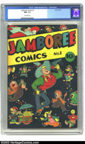 Golden Age (1938-1955):Funny Animal, Jamboree Comics #1 (Round, 1946) CGC NM+ 9.6 Off-white pages.Simply beautiful cover depicting a cartoon cowboy surrounded b...