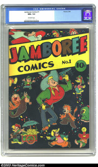 Jamboree Comics #1 (Round, 1946) CGC NM+ 9.6 Off-white pages. Simply beautiful cover depicting a cartoon cowboy surround...