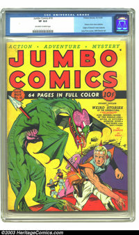 Jumbo Comics #10 (Fiction House, 1939) CGC VF 8.0 Off-white to white pages. Overstreet gives this Lou Fine cover the &qu...