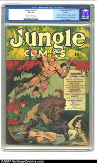 Jungle Comics #1 Rockford pedigree (Fiction House, 1940) CGC FN- 5.5 Cream to off-white pages. One of Fiction House's ea...