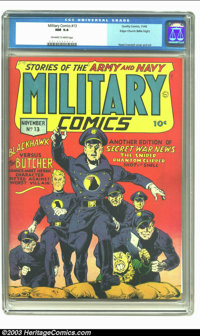 Military Comics #13 Mile High pedigree (Quality, 1942) CGC NM 9.4 Off-white to white pages. EC great, Reed Crandall, dem...