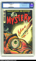 Golden Age (1938-1955):Horror, Mister Mystery #12 (Aragon Magazines, Inc., 1953) CGC VF 8.0Off-white pages. This classic injury-to-eye cover exemplifies w...