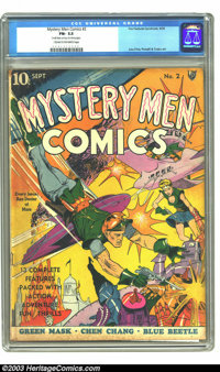 """Mystery Men Comics #2 (Fox, 1939) CGC FN- 5.5 Cream to off-white pages. CGC notes: """"Small stain on top of a few pag..."""