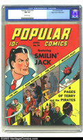 Golden Age (1938-1955):Cartoon Character, Popular Comics #74 Mile High pedigree (Dell, 1942) CGC NM 9.4Off-white pages. Smilin' Jack, and Terry and the Pirates headl...