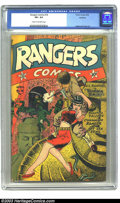 Golden Age (1938-1955):War, Rangers Comics #16 Rockford pedigree (Fiction House, 1944) CGC VF+8.5 Cream to off-white pages. Fiction House had a penchan...