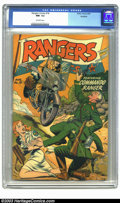 Golden Age (1938-1955):War, Rangers Comics #18 Rockford pedigree (Fiction House, 1944) CGC NM- 9.2 Off-white pages. Early Fiction House books just seem ...