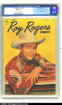 Roy Rogers Comics #1 (Dell, 1948) CGC NM- 9.2 Off-white to white pages. This outstanding copy of the first issue in the...